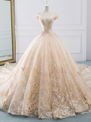 New Romantic V-collar Elegant Princess Wedding Dress - onlybridals