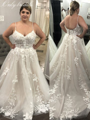 onlybridals Plus Size Lace Beach Wedding Dresses A Line Spaghetti Straps Appliques Button Boho Bridal Gown Vestidos De Novia with Long Train