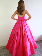 Strapless Sweetheart Neck Hot Pink Long Prom Dresses Hot Pink Satin Long Formal Evening Dresses
