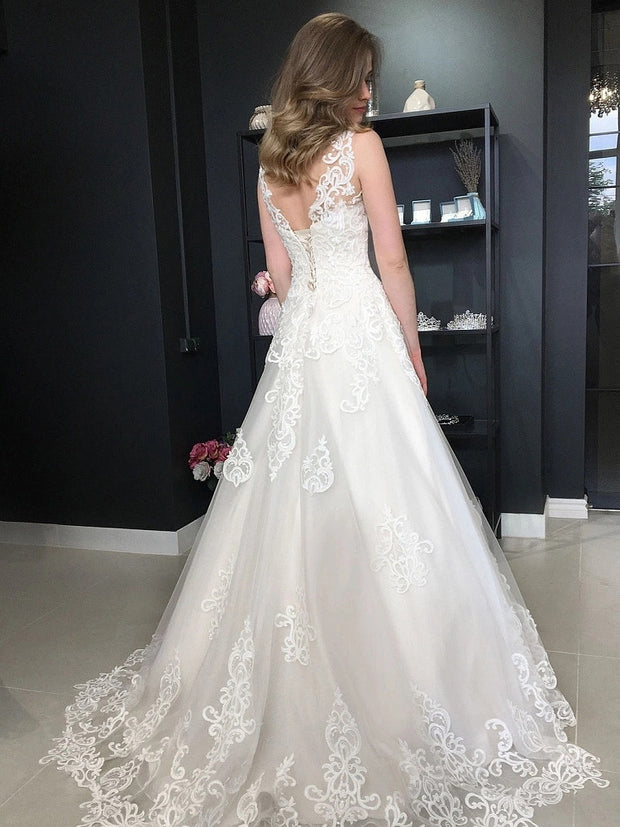 onlybridals  Boho Wedding Dressess 2021Beach Bridal Gowns Appliques Lace Up Back Plus Size Robe de mariee Wedding