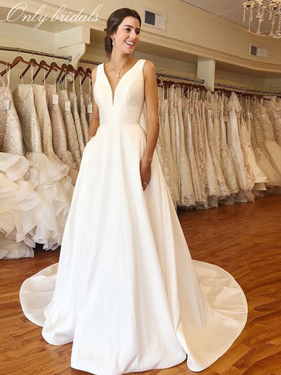 onlybridals Cheapest A-line Wedding Dresses Elegant V-neck White Ivory Satin  Backless Wedding Gowns Chapel Train