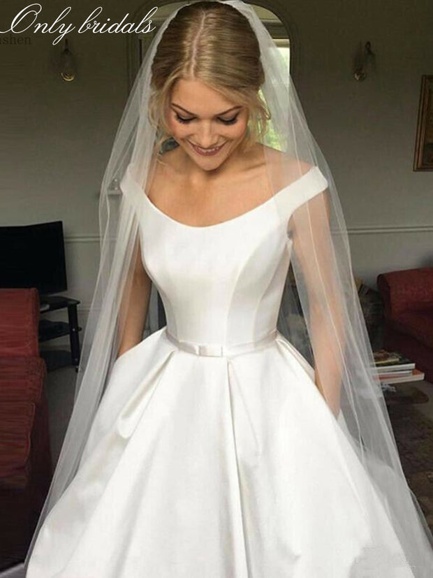 onlybridals Simple Wedding Dresses Vintage Satin Off The Shoulder A-line Wedding Dress Country Garden Bridal Gown