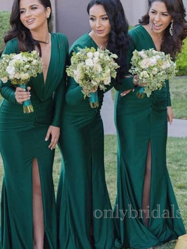 onlybridals Sexy Mermaid Long Sleeves V-Neck Pleats Front Split Bridesmaid Dresses - onlybridals