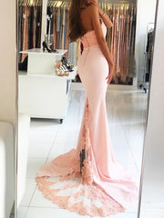 onlybridals Pink Prom Dresses Mermaid Halter Appliques Lace Beaded Backless Party Long Prom Gown Evening Dresses