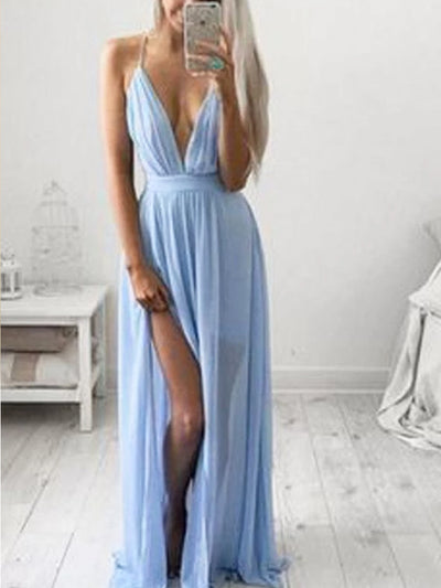 onlybridals Blue Chiffon Casual Spaghetti Straps Long Prom Dress with Side Slit