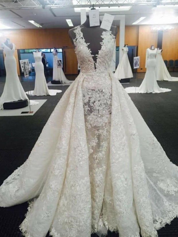 onlybridals Image Wedding Dress With Over-Skirt Lace Applique Mermaid Long Wedding Gowns Stunning Lace Birdal Wedding Dresses