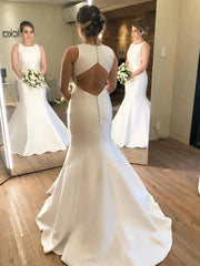 Minimalist Long Scoop Mermaid Ivory Wedding Dress with Cutout