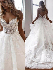 onlybridals Beach Wedding Dresses Spaghetti Strap Backless Boho Bridal Gowns Sweep Train - onlybridals