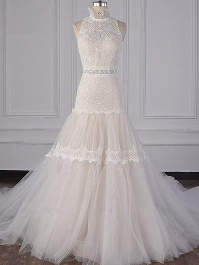 Chic High-Neck Tulle Lace Wedding Dress Appliques Sleeveless Bridal Gowns with Beading Sashes Online