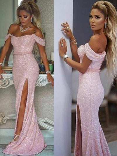 onlybridals Sexy High Side Split Mermaid Prom Dresses Off Shoulder Bling Sequined Buttons Back sleeveless Evening Party Gowns - onlybridals