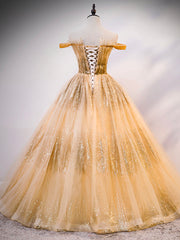 Champagne strapless sparkling tulle lace ball gown prom dress