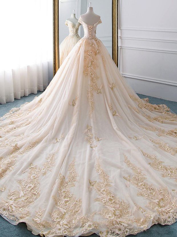 New Romantic V-collar Elegant Princess Wedding Dress