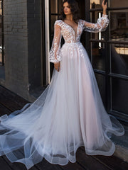 onlybridals Boho Wedding Dress Puff Long Sleeves A-Line Appliques Floor Length Wedding Gown - onlybridals