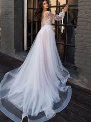 onlybridals Boho Wedding Dress Puff Long Sleeves A-Line Appliques Floor Length Wedding Gown