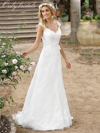 onlybridals Beach Cheap Boho Wedding Dress Buttons Back Lace Applique A-line Princess Wedding Gown