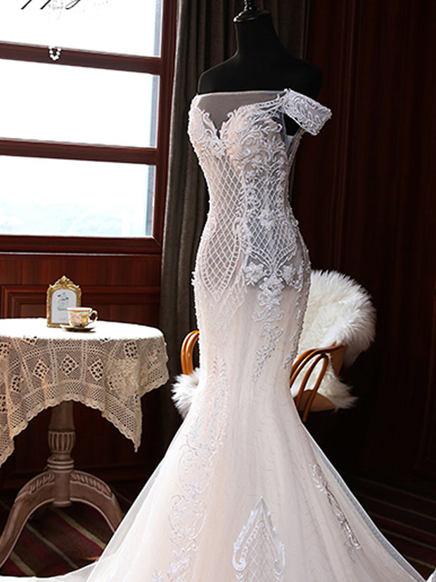 onlybridals Lace Mermaid Factory real wedding dress Sleeveless Floor Length Off the Shoulder Bridal Gowns - onlybridals