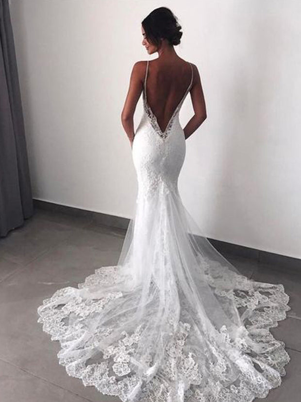 onlybridals White Lace Detachable Train Mermaid Wedding Dresses Spaghetti Straps Backless Beach Wedding Gowns - onlybridals
