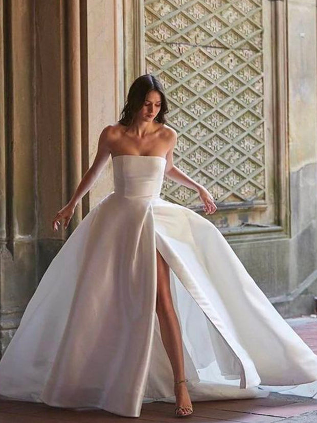 onlybridals A-line Wedding Dress Ivory Satin Wedding Gowns Elegant Long Sleeve Bride Dress Abito
