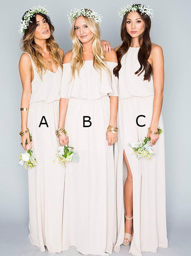 onlybridals  Simple Chiffon Bohemian Bridesmaid Dresses - onlybridals