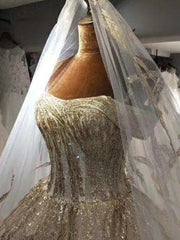 onlybridals Luxury Long Sleeve A-line Lace Wedding Dress Off Shoulder Shiny Wedding Dress - onlybridals
