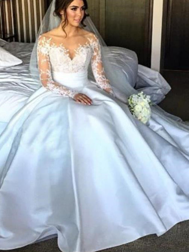 onlybridals Sexy Lace Mermaid Wedding Dresses 2019 Illusion Appliques Long Sleeves Train Bride Dress Customized - onlybridals