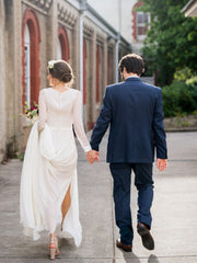 onlybridals Simple Backless Long Sleeves Mermaid Cheap summer  Wedding Dresses - onlybridals