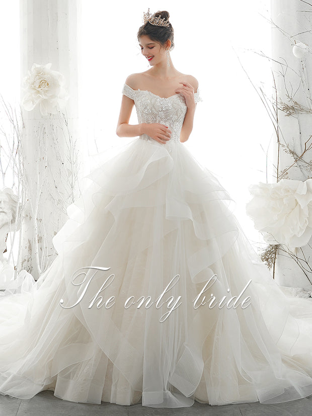 onlybridals White Lace Appliques Ball Gown Cheap Wedding Dresses 2020 Off The Shoulder Short Sleeves