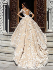 onlybridals Champagne A Line Wedding Dresses 3D Lace Applique Long Sleeves Wedding Gowns Backless  Bridal Dress - onlybridals
