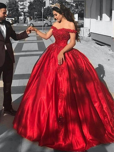 onlybridals Elegant Long Red Off The Shoulder Prom Dresses 2020 Appliques beaded Ball Gowns Reflective Dress - onlybridals