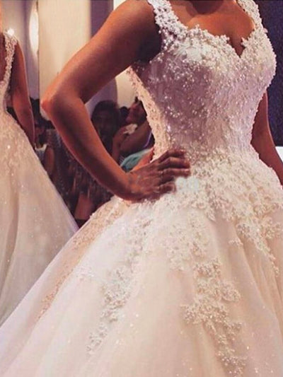 onlybridals Ball Gowns Spaghetti Straps White Ivory Tulle Wedding Dresse Bridal Dress