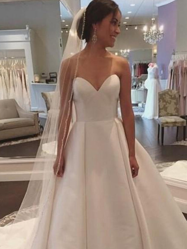onlybridals Sweetheart Neck A-line Wedding Dresses Court Train Lace Up Back Satin Bridal Wedding Gowns