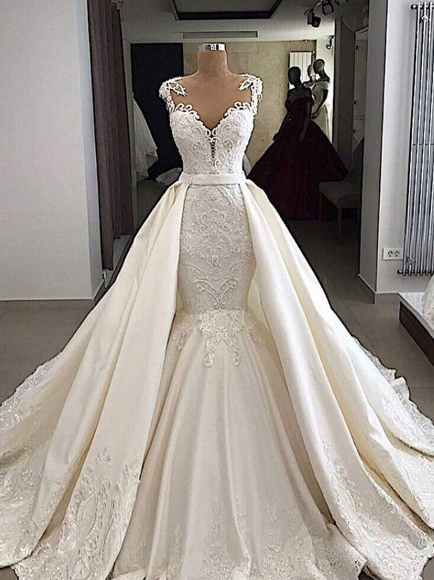 onlybridals  High-end custom made lace with crystal beads Lace wedding dress 2020 mermaid wedding dresses - onlybridals