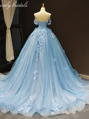 onlybridals Sky Blue Tulle Off Shoulder Sweetheart Neck Long Lace Applique Senior Prom Dress - onlybridals