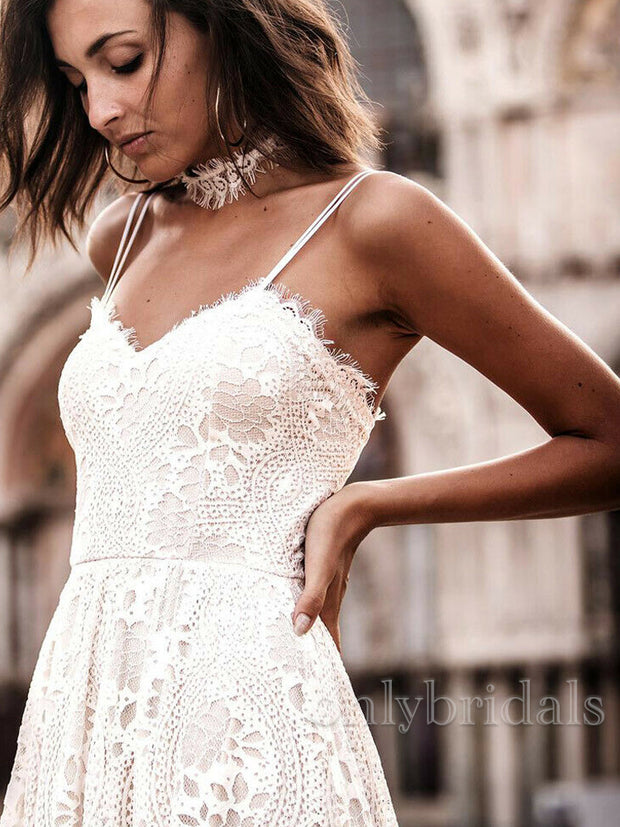 onlybridals Beach Wedding Dresses Boho Bohemian Lace Backless Spaghetti Straps White Custom - onlybridals