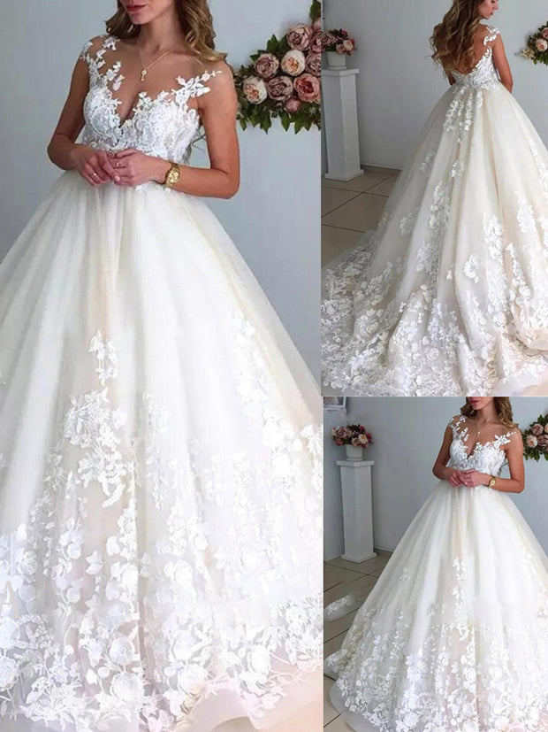 onlybridals Elegant Ball Gown Wedding Dresses 2021 Scoop Neck Sleeveless Open Back Exquisite Lace Appliques Bridal Gowns