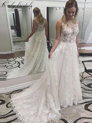 onlybridals Wedding Dresses 2020 Scoop Neck Appliques Lace A-line Tulle Bridal Gown Button Back Vestidos de Noivas Plus Size New
