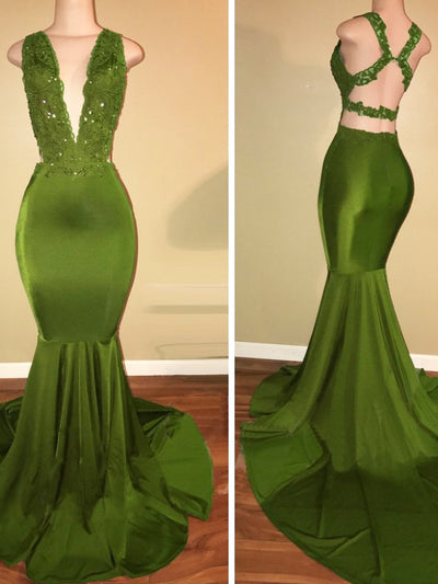 onlybridals Green Prom Dresses Mermaid V-neck Appliques Lace Beaded Backless Party Long Prom Gown Evening Dresses