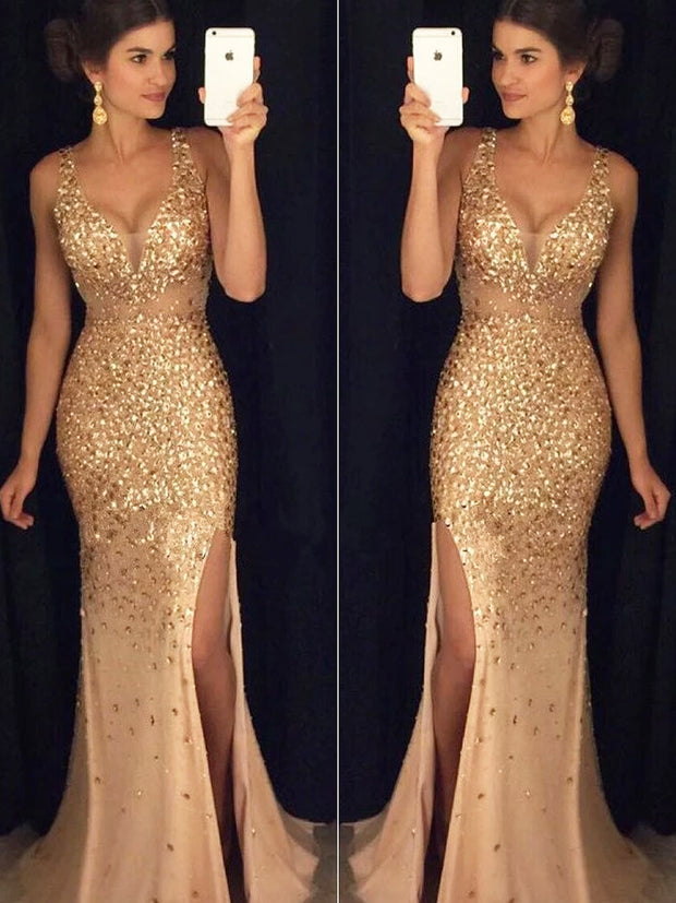 onlybridals Gold Rhinestone Mermaid See Through Prom Dresses With Beading