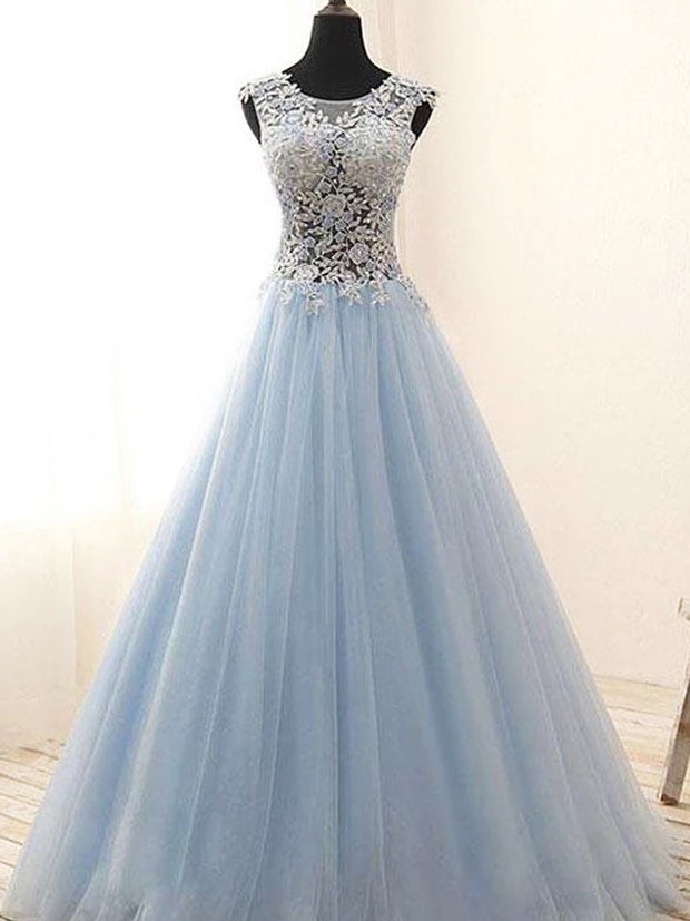 Light Blue A-line Tulle See Through Lace Long Prom Dresses With Appliques