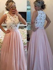onlybridals Fashion Pink Satin A-line Scoop Prom Dresses, Party Dresses for Woman