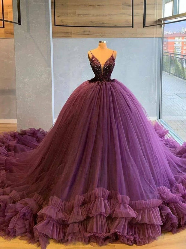 Sexy V Neck Tulle Ruffles Party Evening Dresses 2021 Purple Navy Blue Formal Prom Dress Gown Women Plus Size robe de soiree