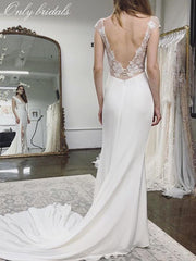 onlybridals Elegant Beach Wedding Dresses V-neck Lace Appliques Backless Bridal Gowns Cap Sleeves Boho Long - onlybridals