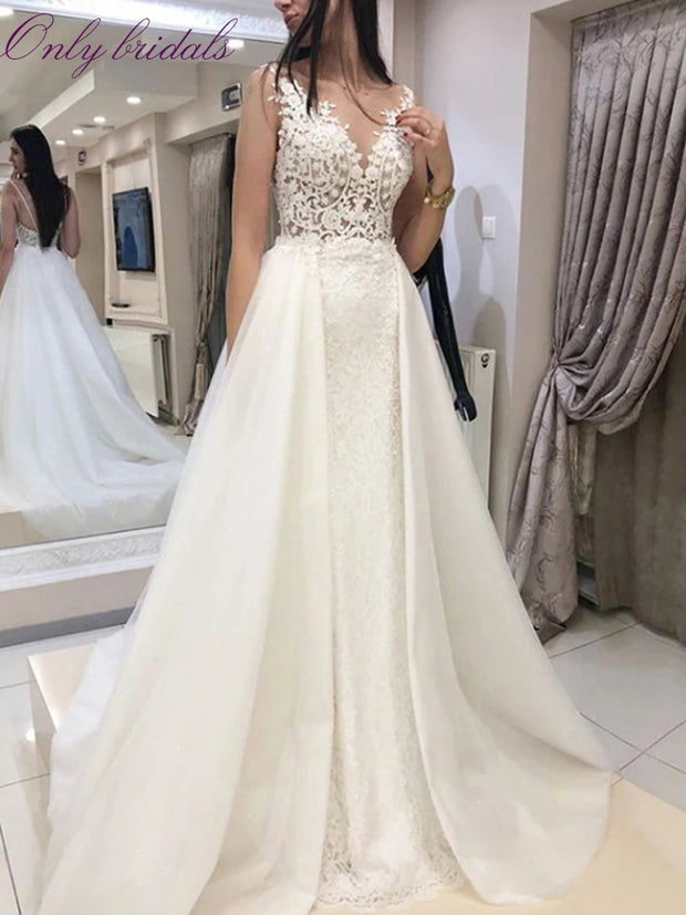 onlybridals New Wedding Dresses A-line O Neck Bridal Gown Lace Appliques Sexy Sleeve Backless Vestidos de Noivas Floor Length