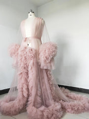 onlybridals Dusty pink tulle maternity dress pregnancy wedding party bathrobe off-shoulder photography dress
