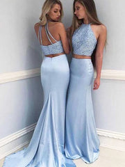 Two Piece Satin Halter Beaded Sleeveless Prom Dress With Sweep Train