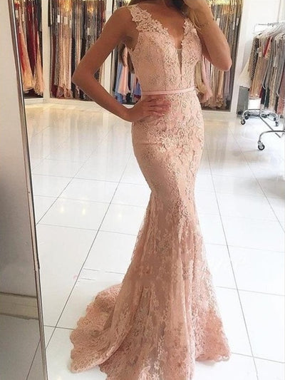 onlybridals Pink Prom Dresses Mermaid Deep V-neck Appliques Lace Women Party Maxys Long Prom Gown