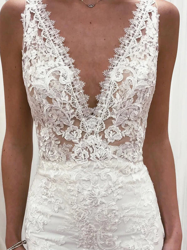 Long Deep V-Neck Mermaid White Wedding Dress with Lace