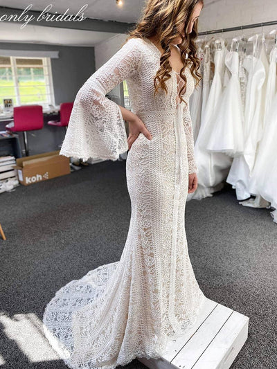 onlybridals  Lace Mermaid Sexy Wedding Dresses Long Sleeves Deep V-neck Bridal Dresses Vintage Wedding Gowns - onlybridals