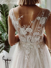 onlybridals Luxury Sequins Appliques Wedding Dress 2020 illusory Lace Boho Wedding Gowns