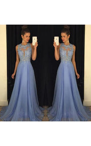 Only bridalsBeautiful Lace Appliques Sleeveless Prom Dress 2018 Long Chiffon Party Gowns - onlybridals